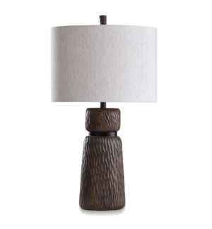 ROANOKE & DUNBROOK | Casual Table Lamp with Chestnut & Dark Coffee Finish | Made in Cambodia | 18in