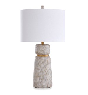 ROANOKE &  DUNBROOK | Casual Table Lamp finished in Ivory & Gold | Made in Cambodia | 18in w X 33in