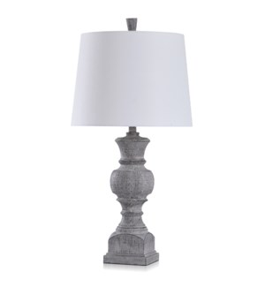 GARRISON GREY | Traditional Table Lamp with Wood Grain Texture Finished in Smoky Slate | Made in Cam