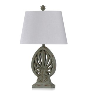 ROME SKY | Casual Brooch Design Table Lamp with a Weathered Olive Finish | Made in Cambodia | 19in w