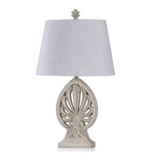 OLD WHITE DISTRESSED | Casual Brooch Design Table Lamp with a Weathered Ivory Finish | Made in Cambo
