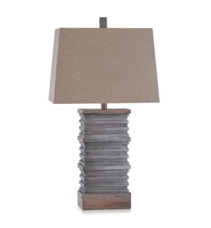 DARLEY | Casual Stacked Plate Design Table Lamp Finished in Slate & Sepia | Made in Cambodia | 18in