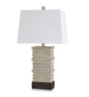 SAUGA CREAM | Casual Stacked Plate Design Table Lamp Finished in Aged Pearl & Cocoa | Made in Cambod
