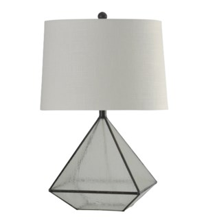 Burke Bronze |  Medallion Glass Pane Table Lamp