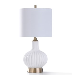 BILLINGHAM GOLD TABLE LAMP | 31in ht. | William Mangum Collection Distinctive White Ribbed Gourd Sha