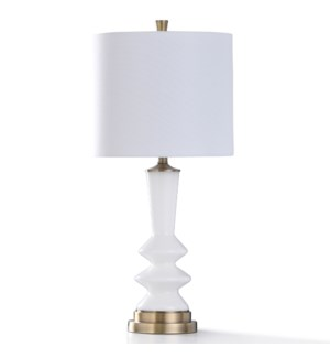CUSANO GOLD TABLE LAMP | 32in ht. | William Mangum Collection Glass White Pillar Body Table Lamp wit