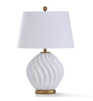 NORFORD TABLE LAMP | 29in ht. | William Mangum Ceramic White Swirl Body Table Lamp with Antique Gold