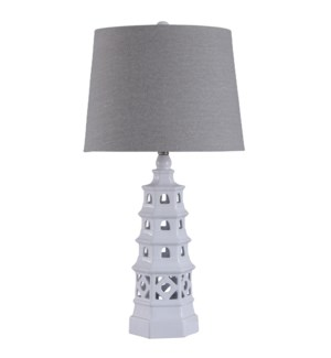 Pagoda White | 31in Ornamental Eclectic Ceramic Body Table Lamp | Hardback Shade | 150 Watts | 3-Way