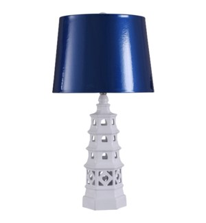Pagoda White | 31in Ornamental Eclectic Ceramic Body Table Lamp | Blue Gloss Hardback Shade | 150 Wa