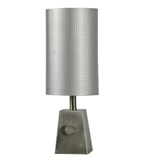Brush steel mini table lamp and tall steel shade
