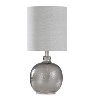 Mini Spanish Glass Ball Lamp in Smoke Finish White Drum Fabric Shade