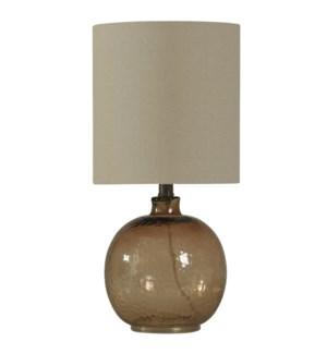 Mini Spanish Glass Ball Lamp in Amber Mist Finish White Drum Fabric Shade