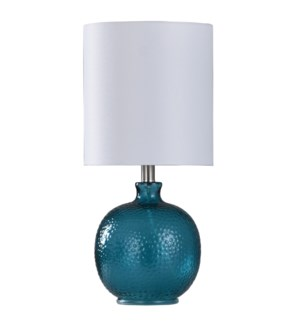 Mini Spanish Glass Ball Lamp in Cerulean Finish White Drum Fabric Shade