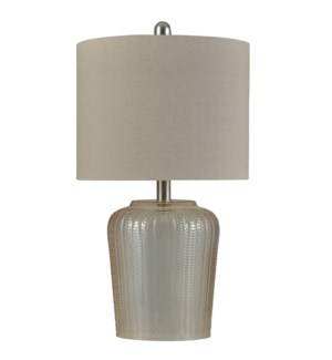 Champagne | Transitional Glass Table Lamp | 100W | 3-Way | Hardback Shade