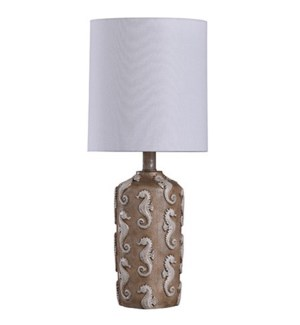 Seahorse Motif | Traditional Coastal Design Mini Accent Table Lamp | 60 Watts | On-Off Switch