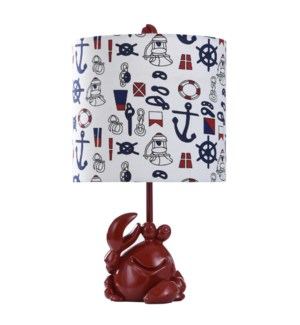 NAUTICAL CRAB ACCENT LAMP | 10in w. X 18in ht. | Moulded Fire Engine Red Body Table Lamp with Nautic