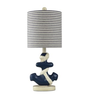 SAILS NAVY | 9in w X 22in ht X 9in d | Moulded Nautical Anchor Table Lamp in Navy and White | 60 wat