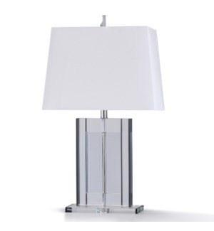 ANELLI TABLE LAMP | 12in w. X 29in ht. | Clear Solid Crystal Glass Body Table Lamp with Crystal Base