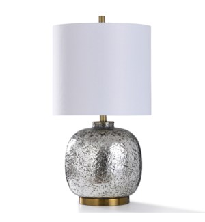 BILKO SILVER TABLE LAMP | 15in w. X 28in ht. | Texture Glass Silver Body Stone Like Table Lamp with