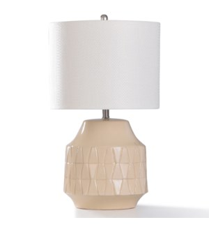 COLEHILL CREAM TABLE LAMP | 27in ht. | Ivory Ceramic Body Accent Table Lamp | 100 Watts