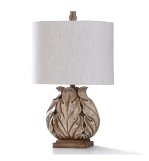 CLEOBURY BEIGE TABLE LAMP | 27in ht. | Hand Carved and Moulded Leaf Design Body Table Lamp with Coff