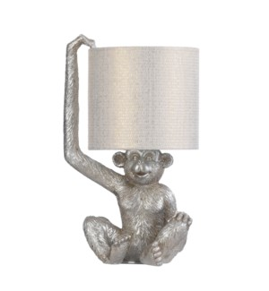 CHURCHILL SILVER | 9in w X 18in ht X 9in d | Monkey Head Molded Table Lamp | 60 watts