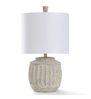 ABATI CREAM TABLE LAMP | 15in w. X 27in ht. | Transitional Column Design Painted Body Table Lamp | 1