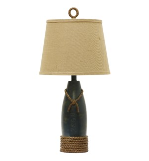 Coastal Table Lamp In Sea Blue Accented by Dock Tie Ropes with Canvas Trimmed Harback Shade