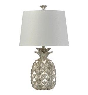 Silver | Traditional Coastal Table Lamp | 100W | 3-Way | Hardback Shade