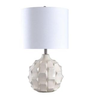 Naxos | White Ceramic Transitional Ridged Table Lamp | 150 Watts | 3-Way