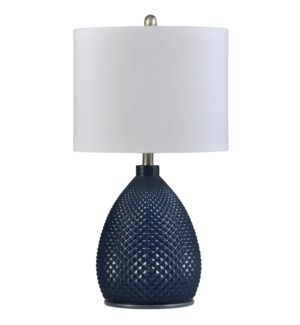 Navy Blue | Transitional Glass Table Lamp | 150W | 3-Way | Hardback Shade