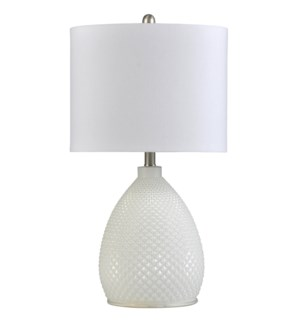 Pure White | Transitional Glass Table Lamp | 150W | 3-Way | Hardback Shade