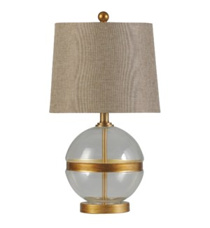 Midfield | Transitional Glass and Steel Table Lamp | 100W | 3-Way | Hardback Shade