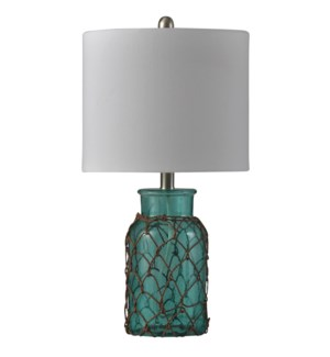 Monterobay | Traditional Coastal Glass and Rope Table Lamp | 100W | 3-Way | Hardback Shade