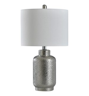 SELENA SILVER | 22in X 12in | Hammered Silver Traditional Table Lamp