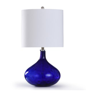 SAVERIO BLUE TABLE LAMP | 16in w. X 30in ht. X 16in d. | Strikingly Blue Glass Accent Table Lamp wit