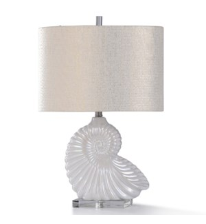 BAHARI TABLE LAMP | 26in ht. | Coastal Shell Ceramic Body Table Lamp with Clear Crystal Glass Base |