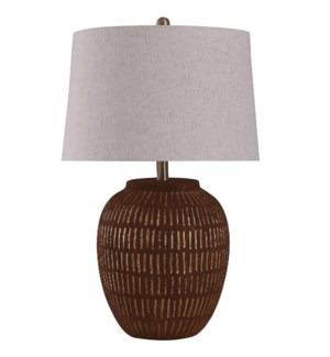 Stoneside Gold | 27in Rustic Fired Ceramic Base Table Lamp | 150 Watts | 3-Way