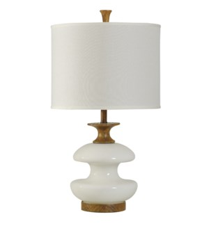 CHEVELLE | Contemporary White Glass Table Lamp on Woodgrain Finished Base | 17in w X 30in ht X 17in