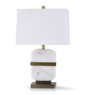 ARABESCATO GOLD | 27in X 17in | Arabescato Gold | Transitional Steel and Carrara Marble Table Lamp