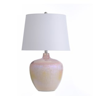 PEARL IVORY | 17in w X 27in ht X 17in d | Round Ceramic Table Lamp with Glossy Pearl Opalescent Fini