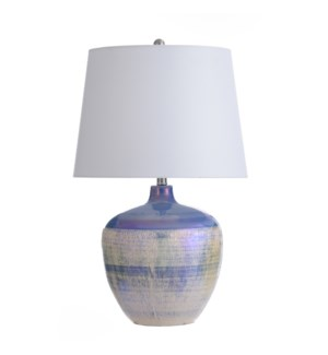 PEARL IVORY | 17in w X 27in ht X 17in d | Round Ceramic Table Lamp with Glossy White Opalescent Fini