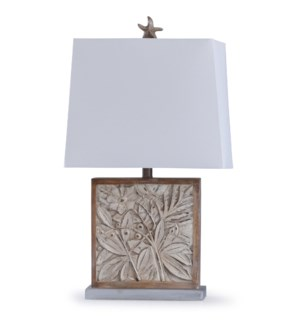 Bialy Pine | 28in Ornately Carved Accent Table Lamp with Starfish Finial | 100W | 3-Way