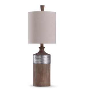 Darley | 26in Traditional Resin Table Lamp with Textured Silver Painted Accent | 60W | 3-Way