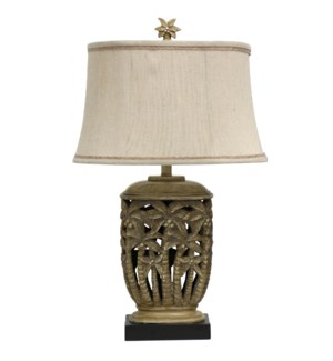 Hand carved Palm Tree Design in Tortola Cream Finish Fabric Shade with Contrast Trim