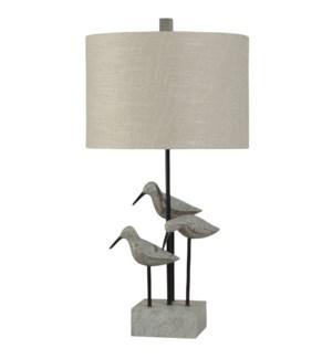 Sandpiper Table Lamp in Chittaway Bay Finish Linen Drum Shade