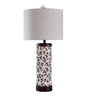 Sand Shell | Traditional Coastal Design Table Lamp with Starfish and 7W Base Night Light | 100 Watts