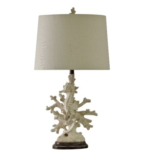 Distressed White Coral Table Lamp Natural Linen Drum Shade