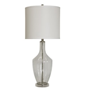 Seeded Glass & Brushed Steel Base Table Lamp With White Drum Shade