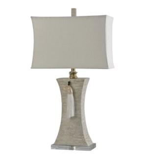 Kousa Wood   Traditional Crystal Accented Table Lamp   Decorative Tassel   100W   3-Way   Softback